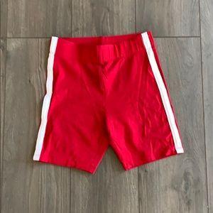Red biker shorts